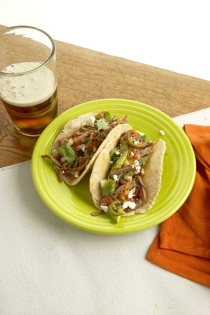 Detail of Beef tacos by Corbis