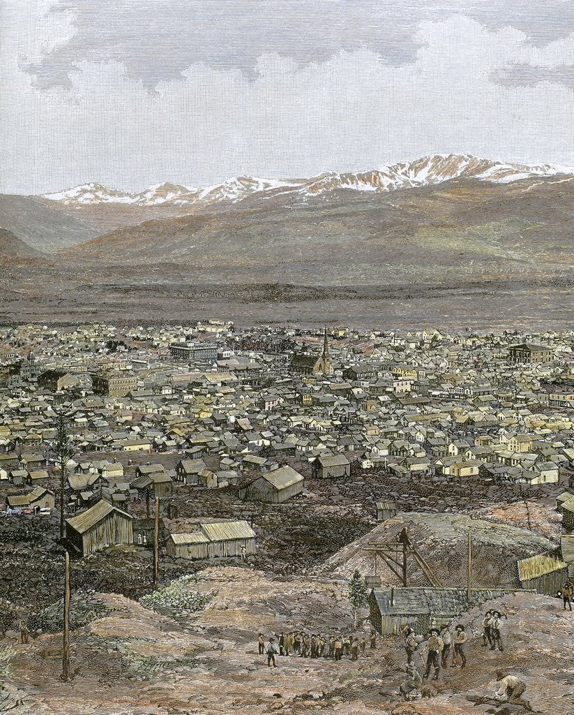 Detail of American West. Nineteenth century. Mining town of Leadville by Corbis