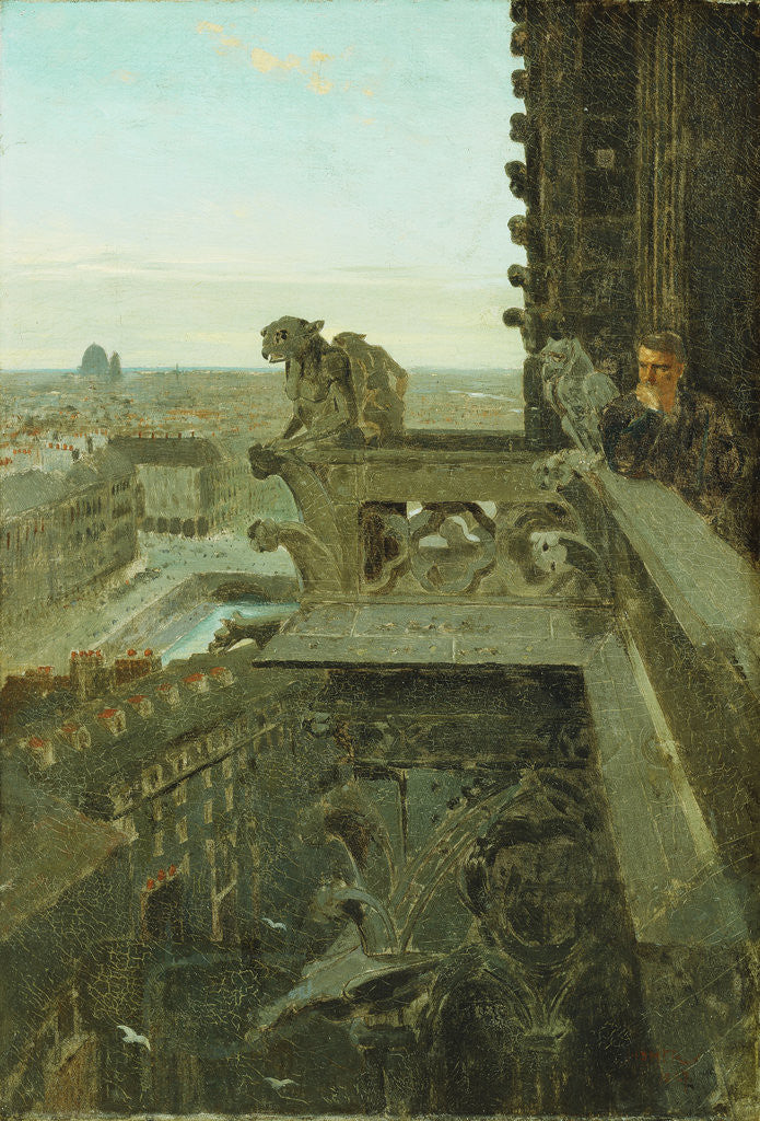 Detail of Gargoyles at Notre Dame by Winslow Homer