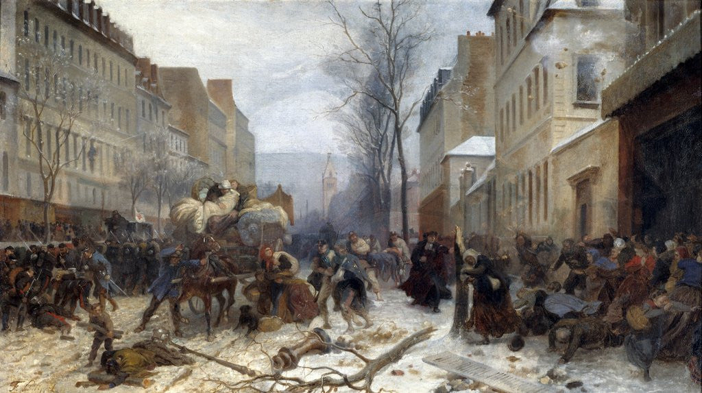 Detail of Bombing scene in Paris by the Prussian armies on January 1871 by Henri Felix Philippoteaux