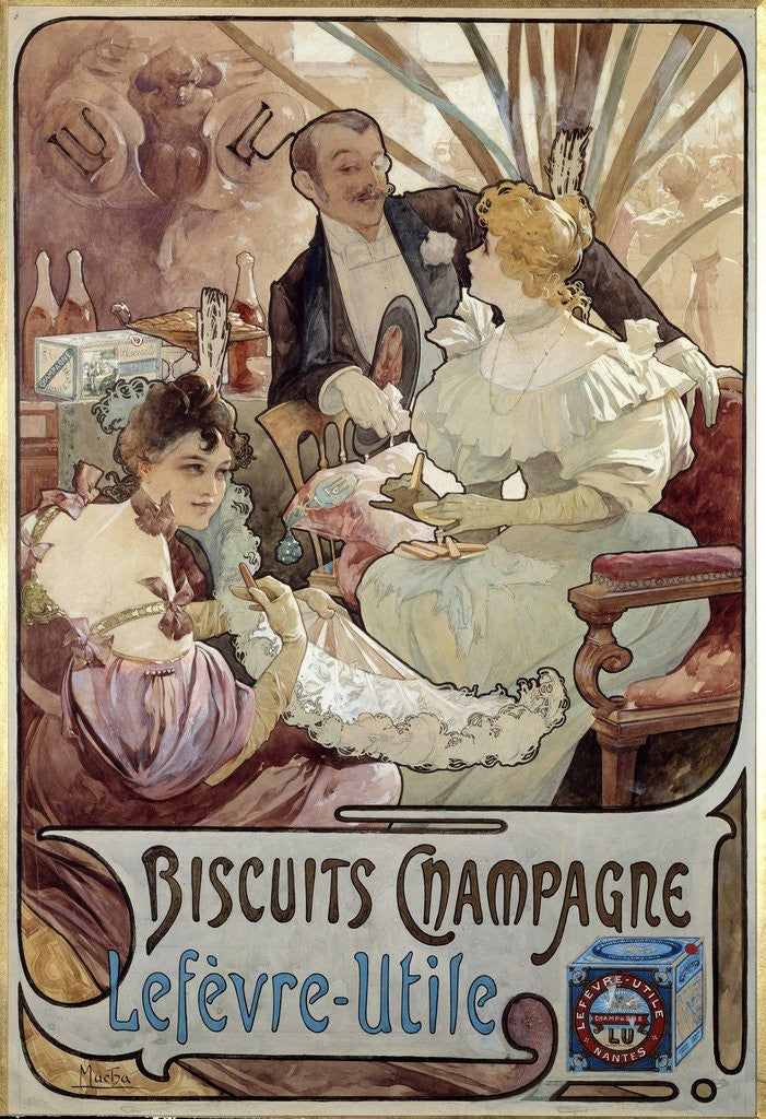 Detail of Advertising poster for Biscuits Champagne by Alphonse Mucha