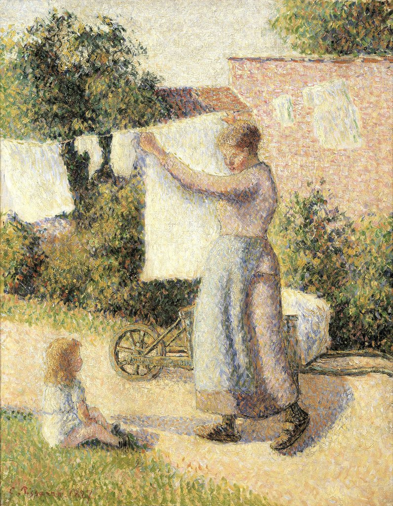 Detail of Woman extending linen by Camille Pissarro