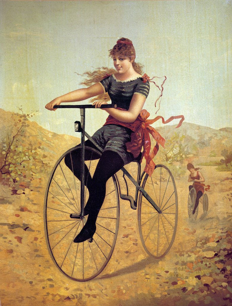 Detail of History of the bicycle : woman pedaling her bicycle by Corbis