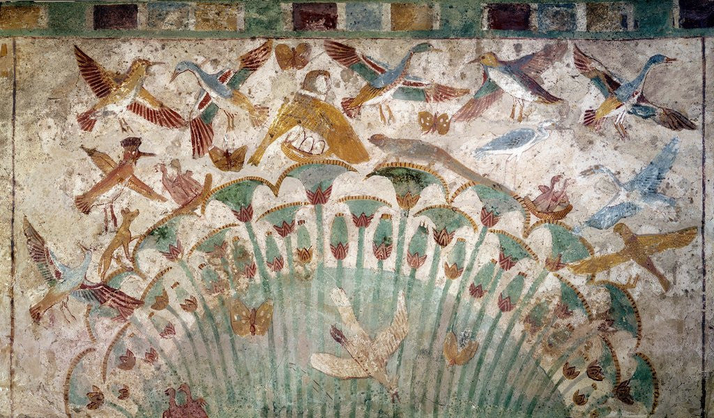 Ancient Egyptian wall painting depicting scene in the Nile marshes ...
