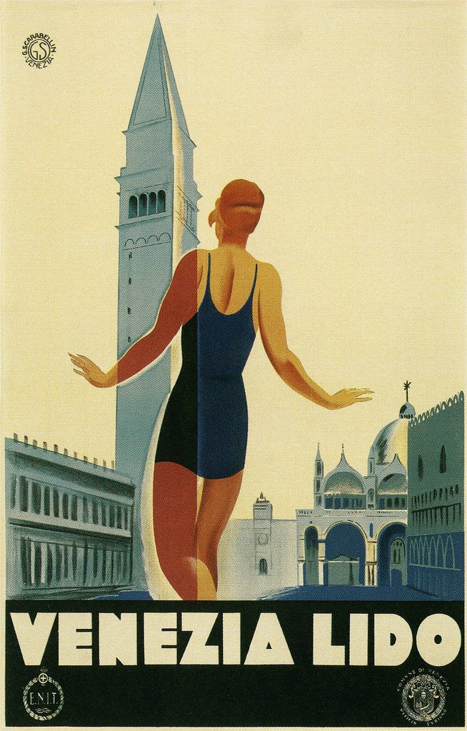 Detail of Travel Poster for the Lido, Venice, Italy by Corbis