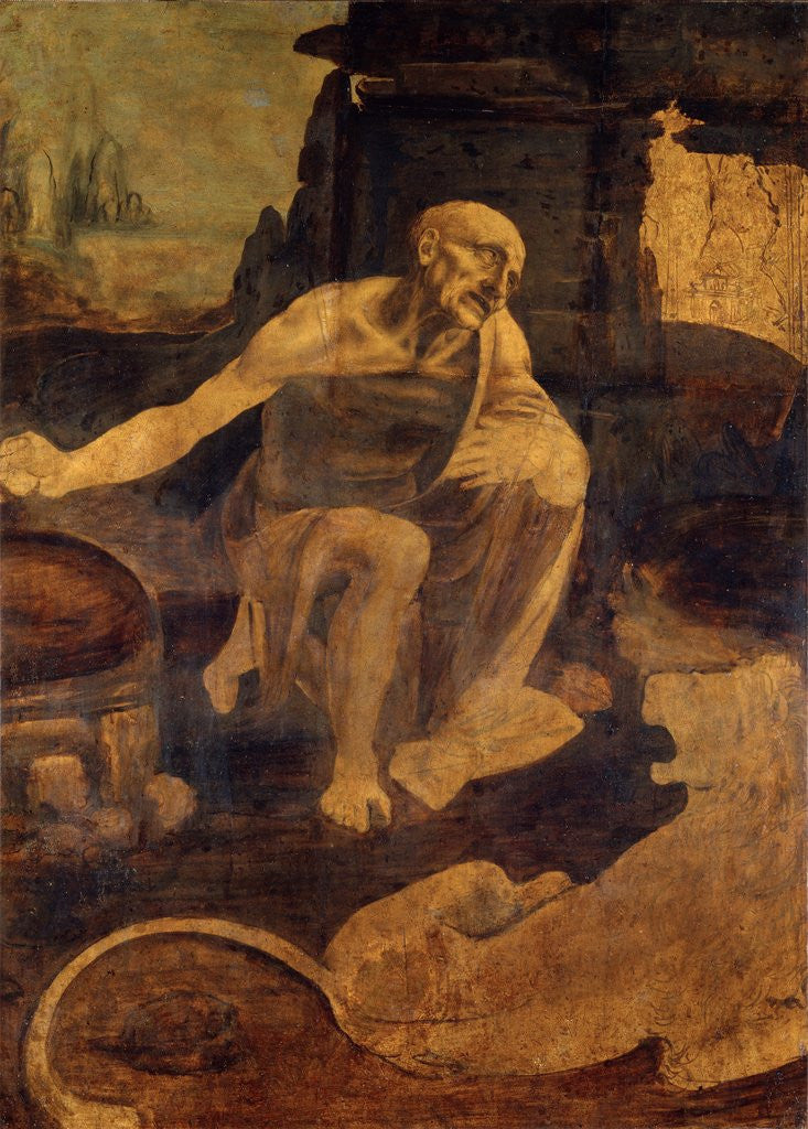 Detail of Saint Jerome in the Wilderness by Leonardo da Vinci