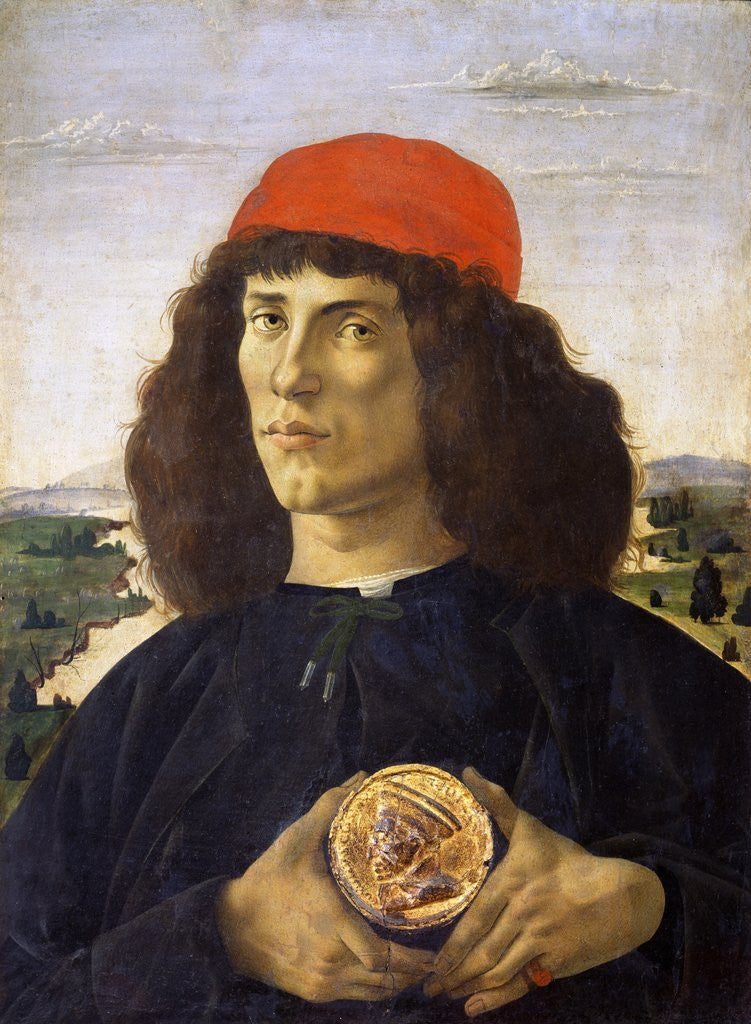 Detail of Portrait of a young man holding a medallion of Cosimo I de' Medici by Sandro Botticelli
