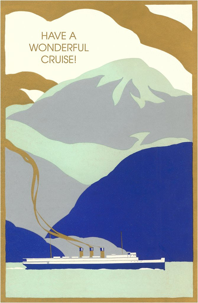 Detail of Art Deco Ocean Liner, Have a Wonderful Cruise by Corbis