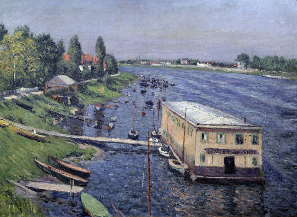 Detail of Boathouse in Argenteuil by Gustave Caillebotte