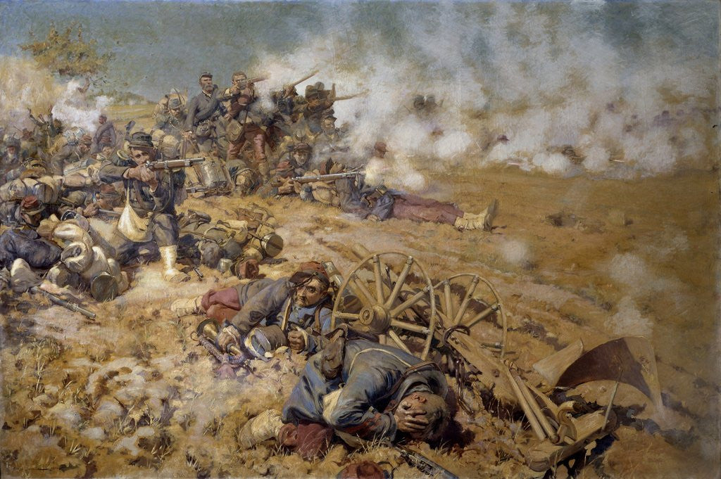 Detail of Line of fire at the battle of Rezonville by Pierre Georges Jeanniot