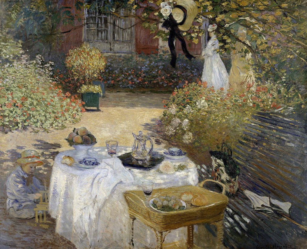Detail of The Luncheon: Monet's Garden at Argenteuil by Claude Monet