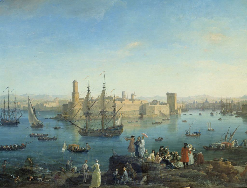 Detail of Entrance of the harbour of Marseille in 1754 by Joseph Vernet