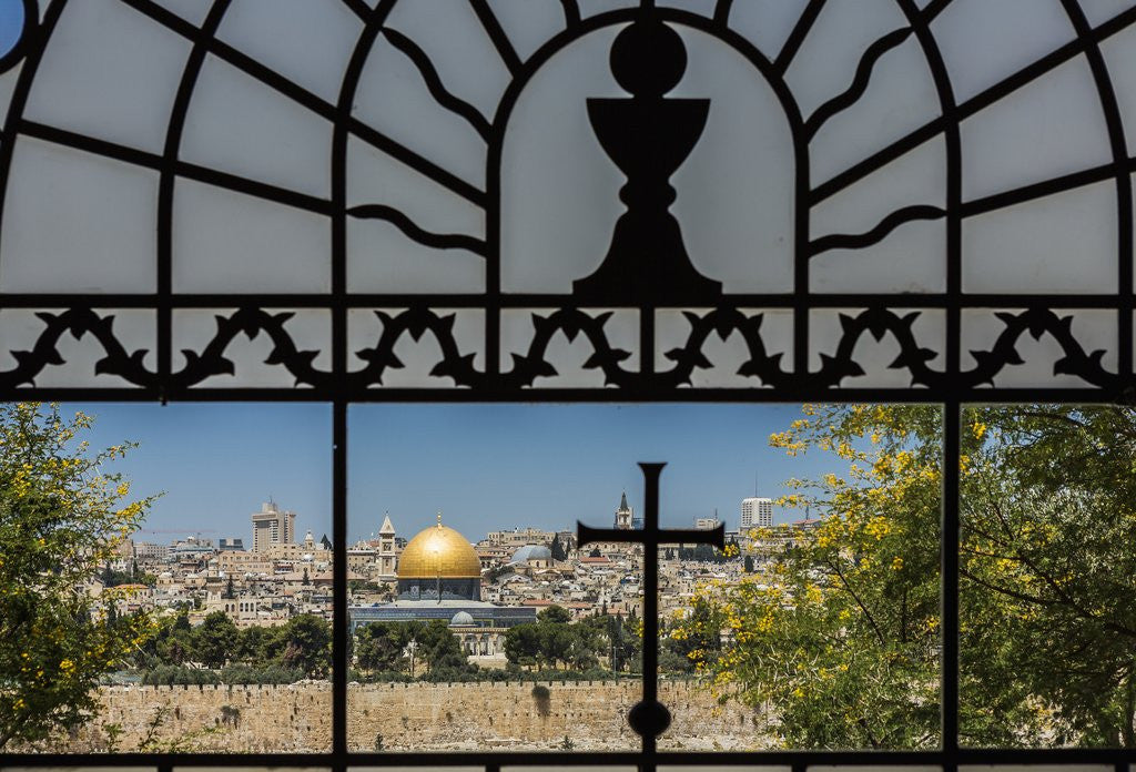 Detail of View of the Old Town with the Dome of the Rock from the Catholic Franciscan church of Dominus Flevit by Corbis