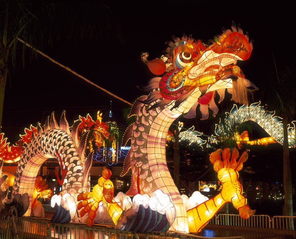 Detail of Illuminated Chinese Dragon on New Year's Eve, Hong Kong, China by Corbis