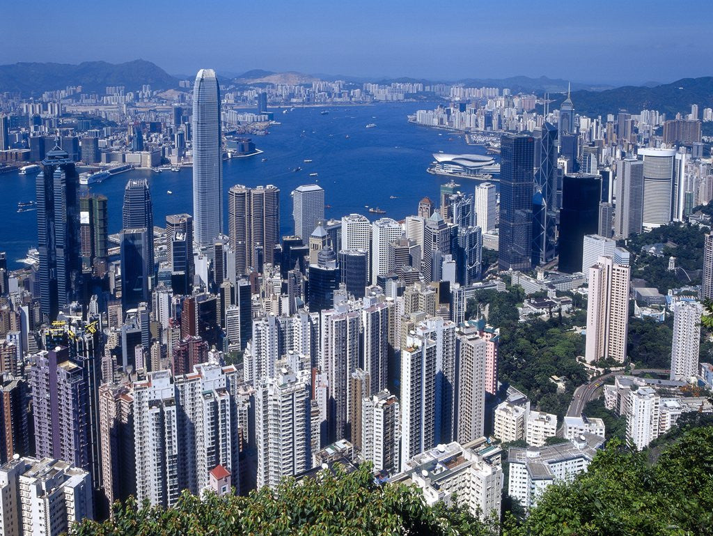 Detail of Skyline of Hong Kong seen from Victoria Peak, China by Corbis