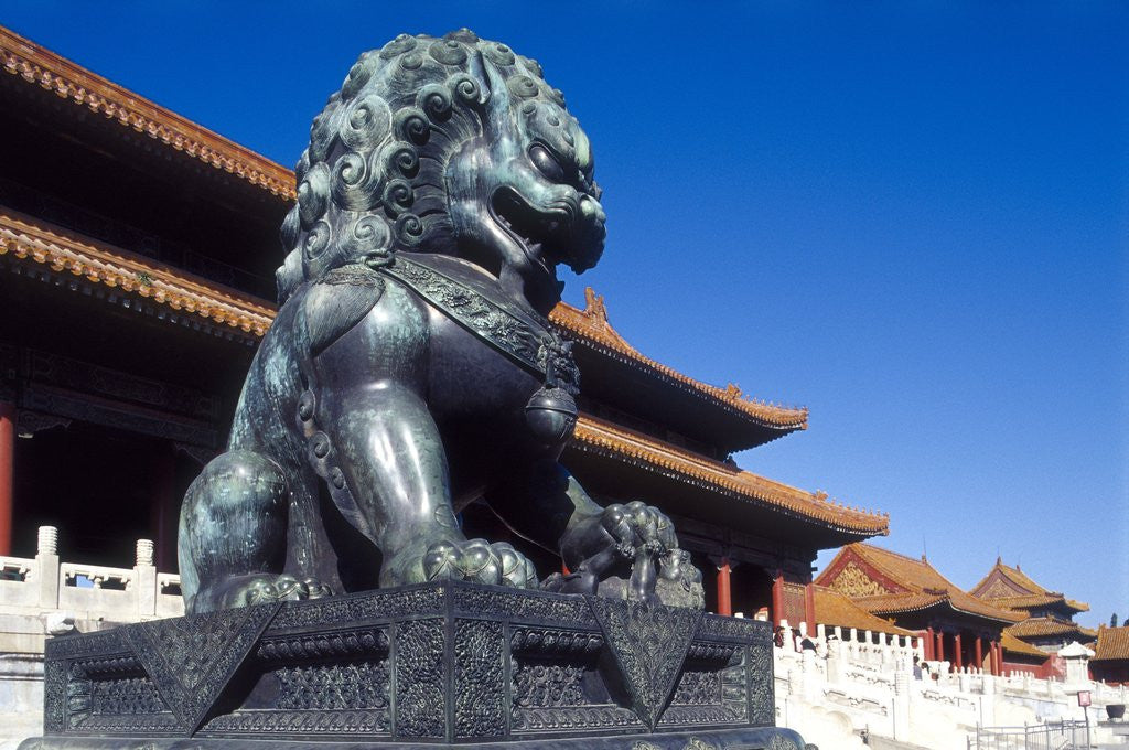 Detail of Guardian Lion at Forbidden City on Tiananmen Square, Imperial Palace, Beijing, Dongcheng District, China by Corbis
