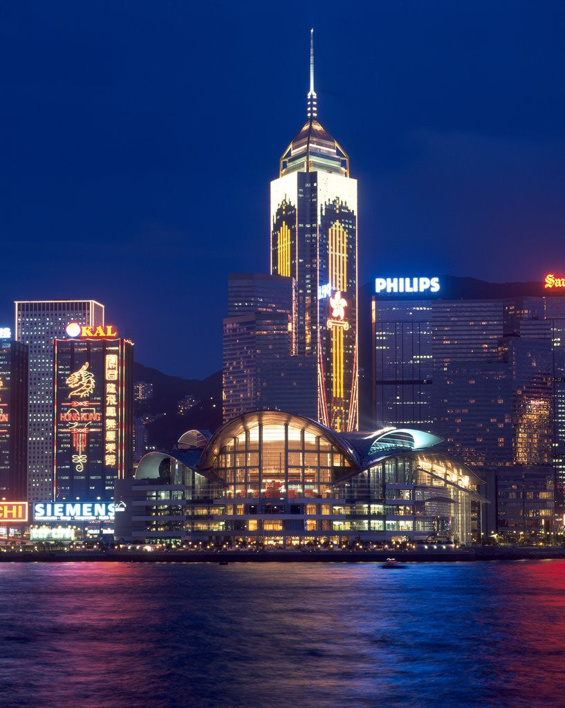 Detail of Convention Centre at night, Victoria Harbor, Wanchai, Hong Kong, China by Corbis