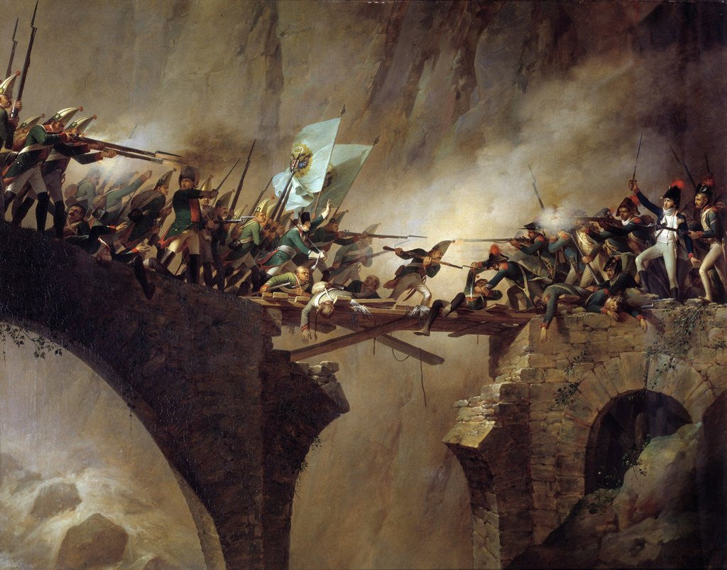 Detail of The passage of the Devil's Bridge at Saint Gothard col by Johann Baptist Seele