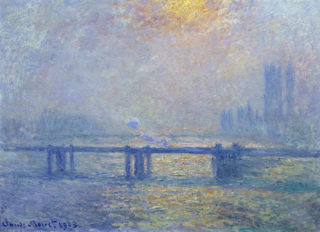 Detail of The Thames at Charing Cross Bridge by Claude Monet