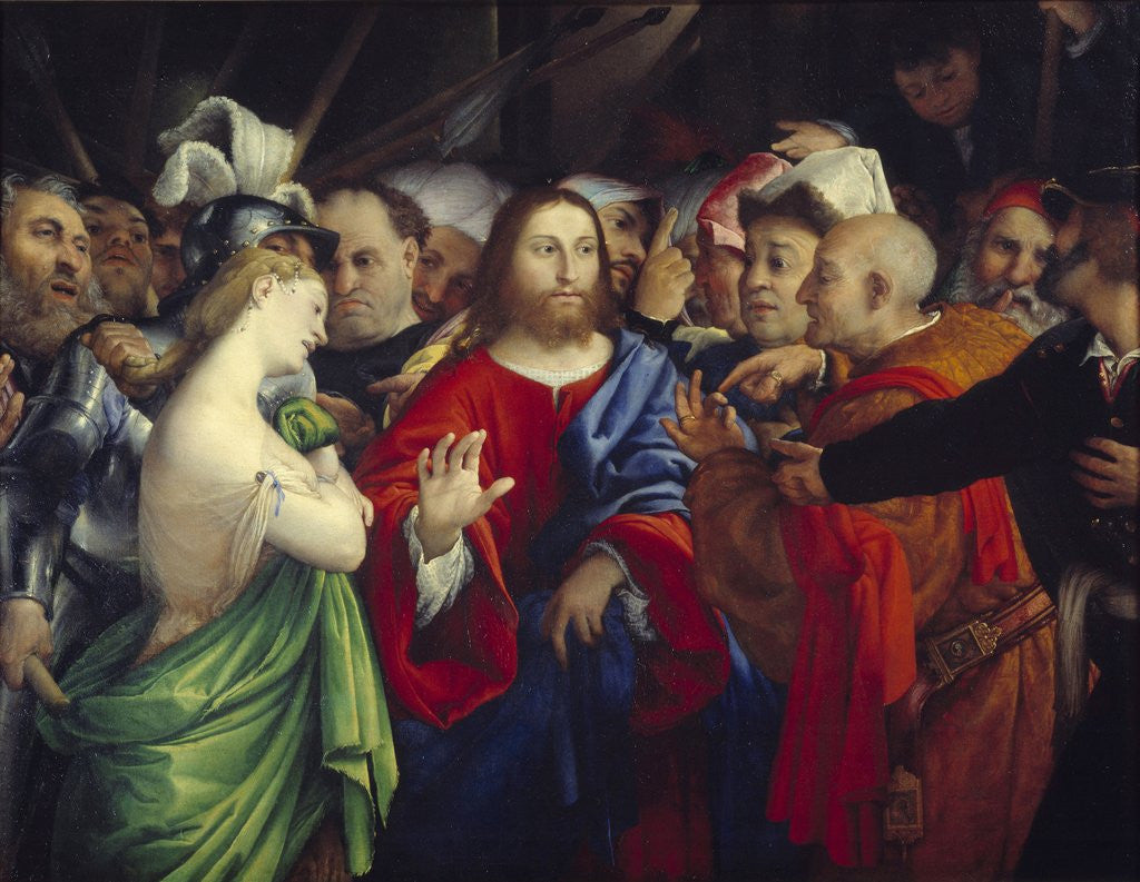 Detail of Christ and the Woman Taken in Adultery by Lorenzo Lotto