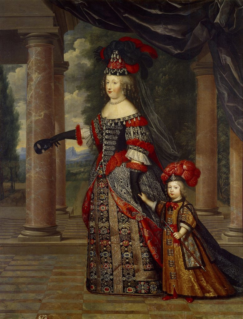 Detail of Portrait of Maria Theresa of Austria with Her Son by Pierre Mignard
