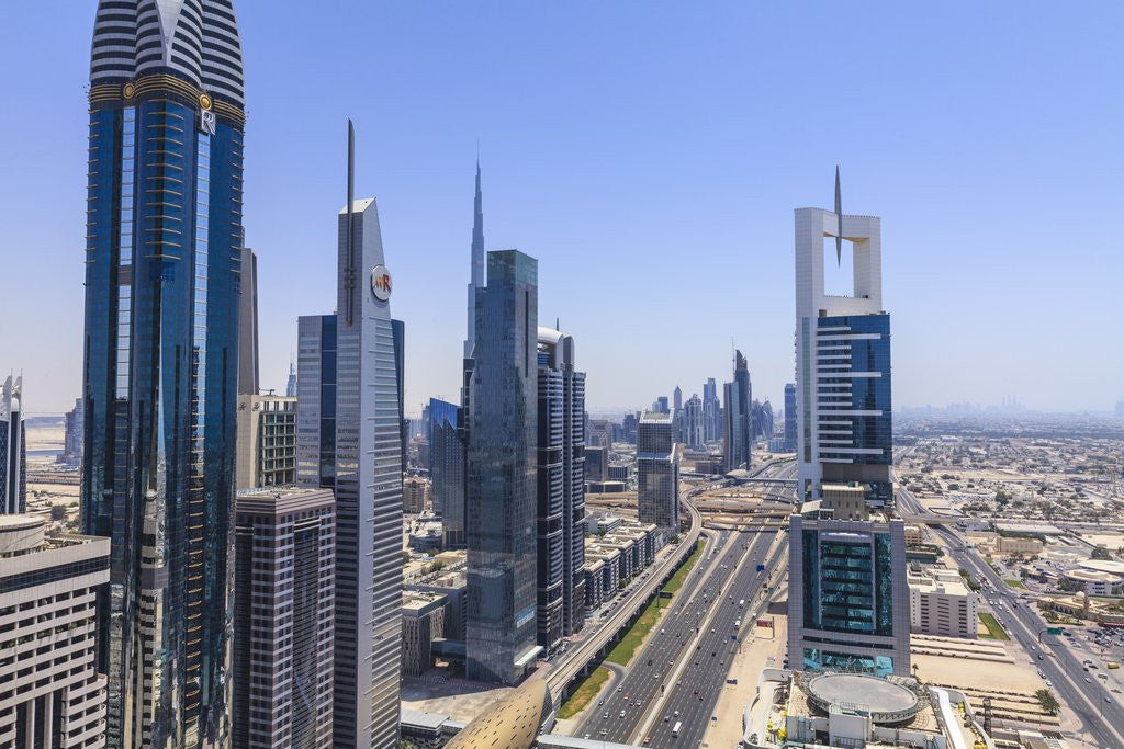 Detail of Dubai cityscape on Sheikh Zayed Road by Corbis