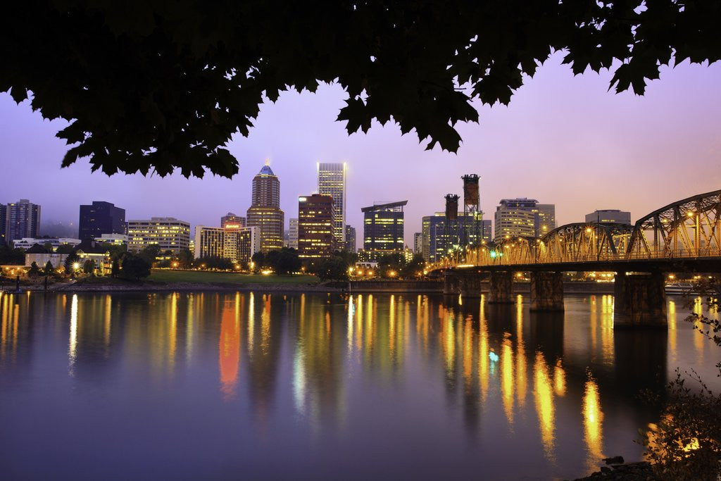 Detail of early morning Down Town Portland and Willamette River, Portland Oregon by Corbis