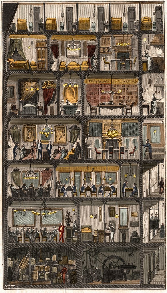 Detail of Cross-section of a Parisian house 1885 by Corbis