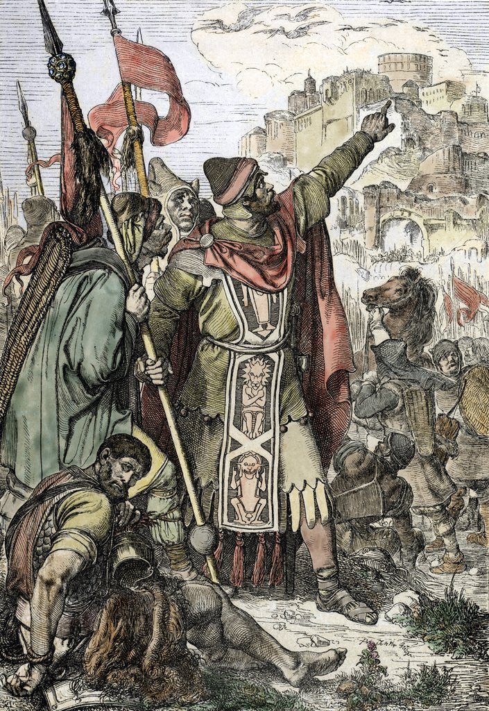 Detail of Attila shows to his soldiers the city of Aquileia before the destruction 452 by Corbis