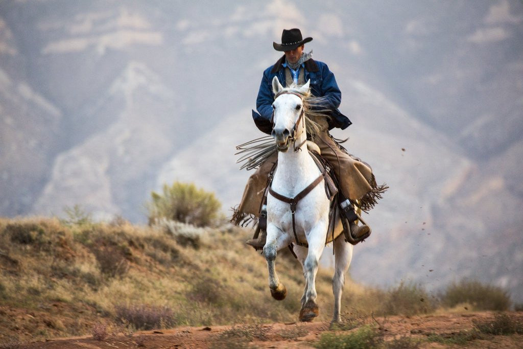 Detail of Cowboy at Full Gallop by Corbis