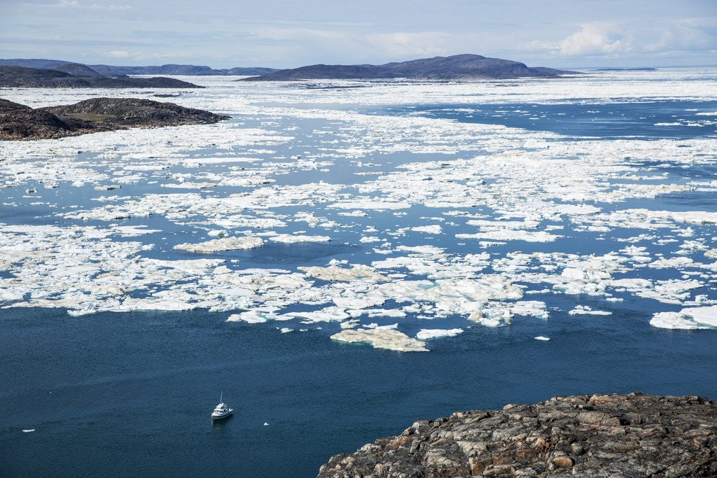 Detail of Expedition Boat and Sea Ice, Repulse Bay, Nunavut Territory, Canada by Corbis