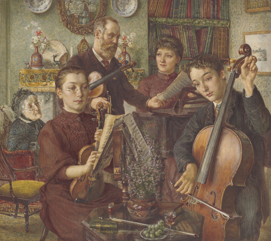 Detail of Group portrait of Alfred Rooke and his family in their home in Mount Park, Ealing by Thomas Matthews Rooke