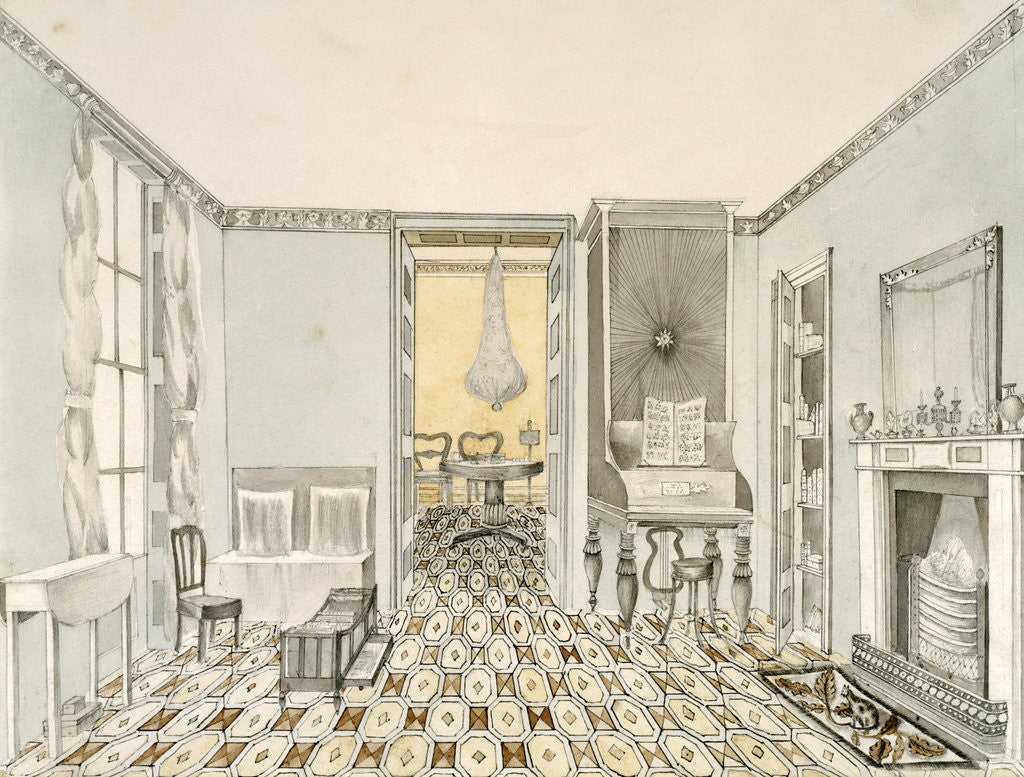 Detail of View of a drawing room by Anonymous
