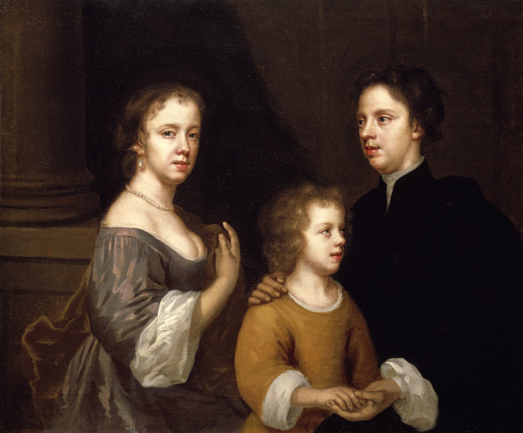 Detail of Self portrait of Mary Beale with her husband and son by Mary Beale