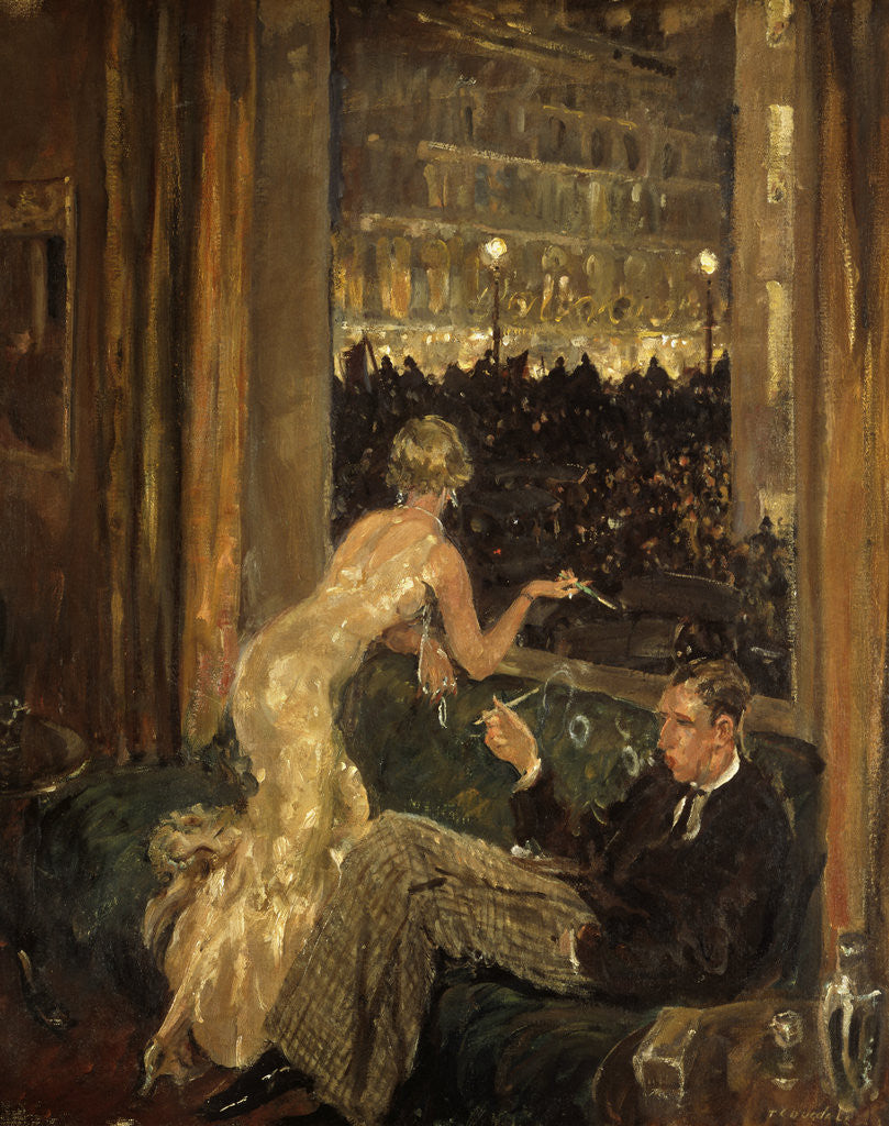 Detail of View of an interior with a couple watching the arrival of the Jarrow Marchers in London through a window by Thomas Cantrell Dugdale
