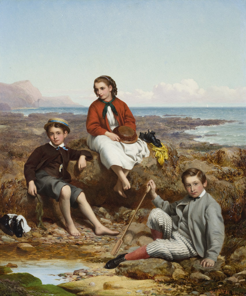Detail of Group portrait of Florence, Arthur and Charles Moore on a sea-shore by William Crosby