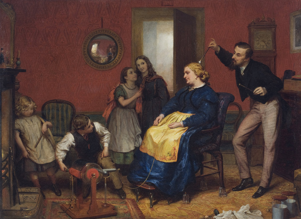Detail of Scene in a domestic interior with children watching as a woman is treated using an electrotherapeutic machine by David Henry Friston