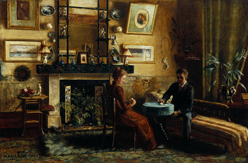 Detail of Interior with a couple playing cards by Nancy A. Sabine Pasley