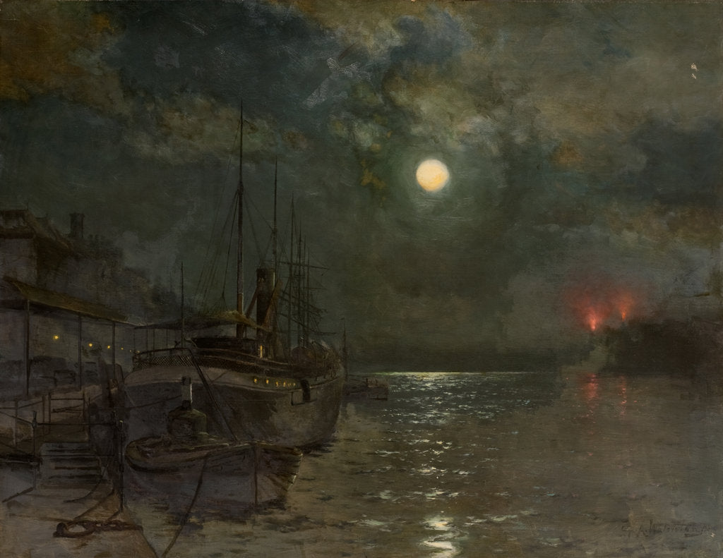 Detail of Moonlight on the Tyne by George A. Waterston
