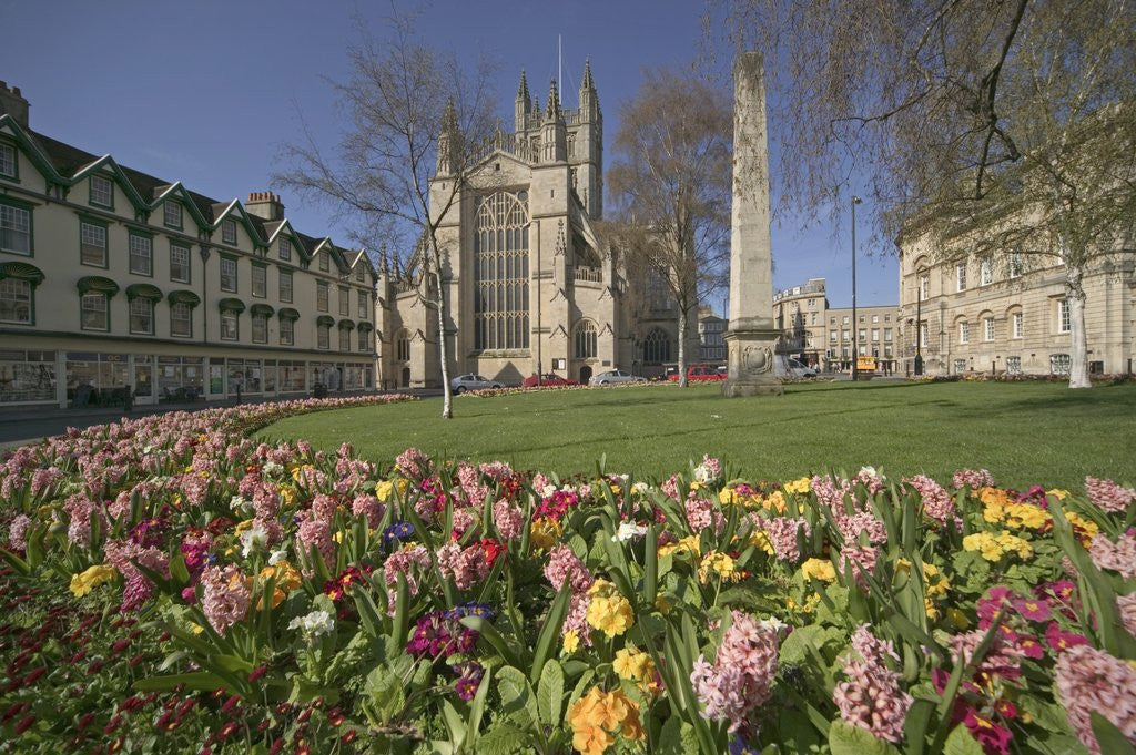 Detail of Gardens on East Side of Bath Abbey by Corbis