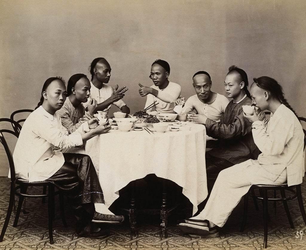 Detail of Group of Young Chinese Men Having Lunch by Corbis