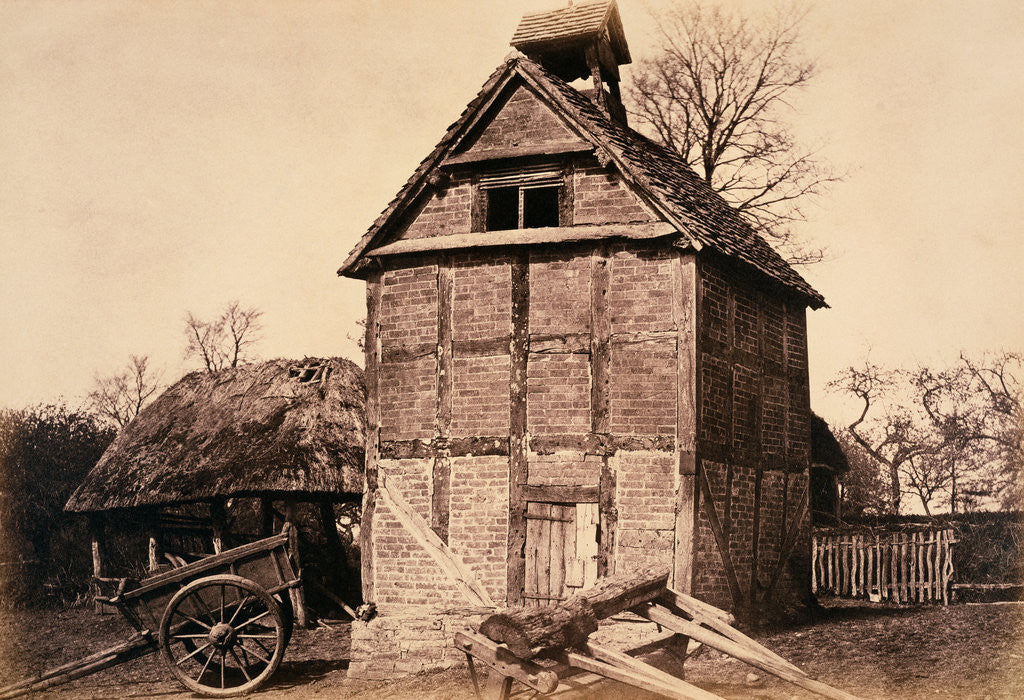 Timbered and Thatched Farm Building with Cart by Benjamin Brecknell Turner