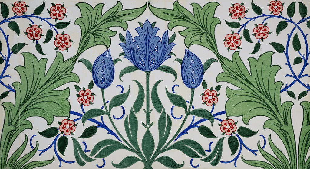 Detail Of Floral Wallpaper Design With Tulips By William Morris