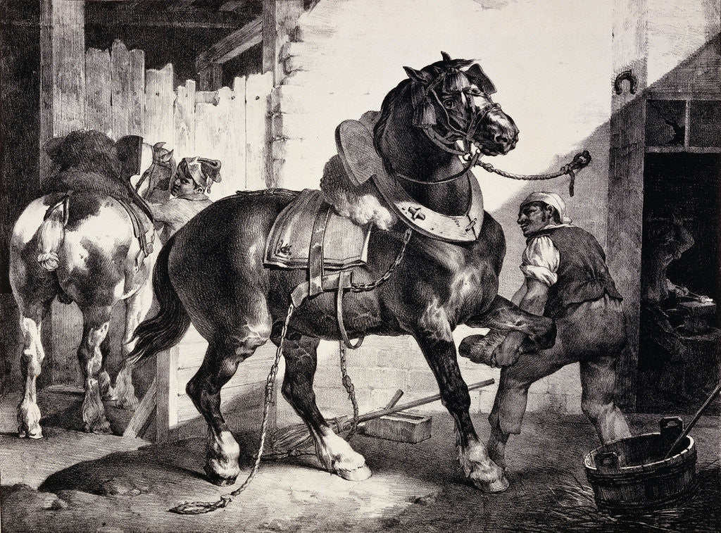 Detail of Farrier at Work Lithograph from Etudes de Cheveaux by Theodore Gericault