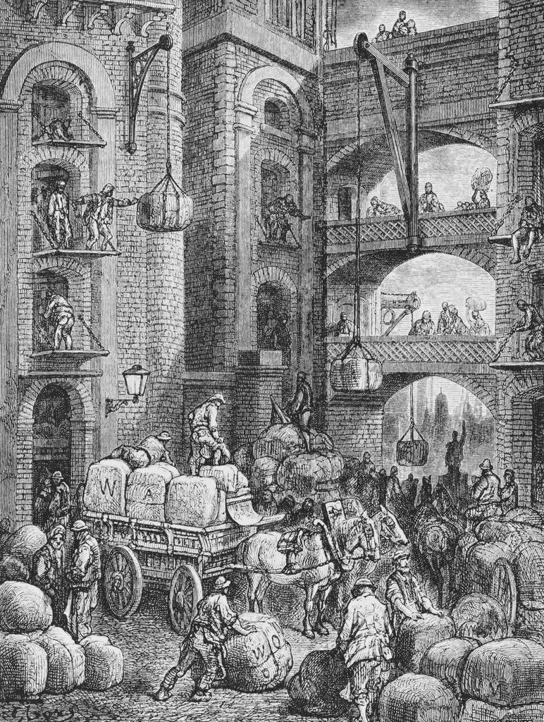 Detail of Engraving of Workers at a London Warehouse by Gustave Dore