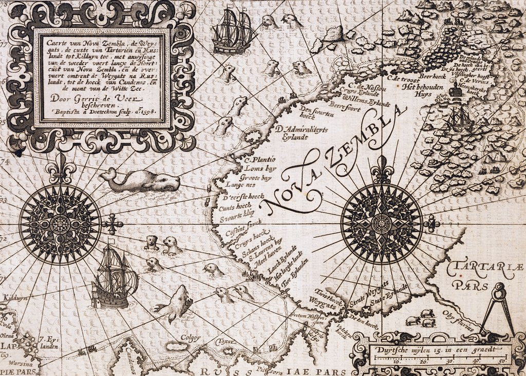 Detail of Map of Nova Zembla from Diarium Nauticum, seu vera descriptio trium navigationum admirandarum by Gerrit de Veer