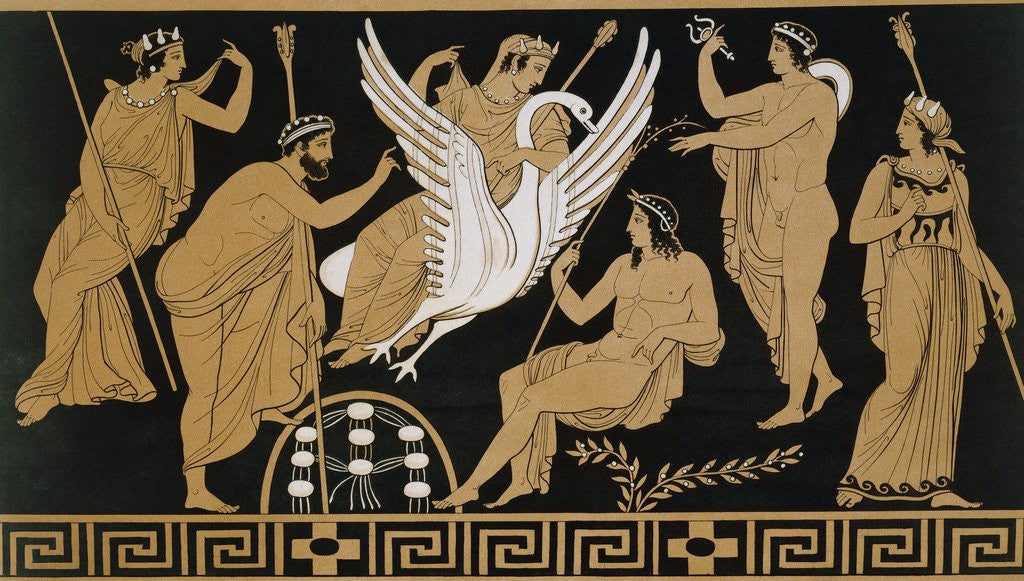 Detail of 19th Century Greek Vase Illustration of Zeus Abducting Leda in the form of a Swan by Corbis
