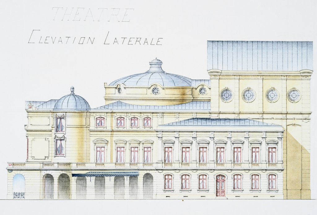 Detail of Architectural Drawing Showing Lateral Elevation of Theatre Building by H. Monnet