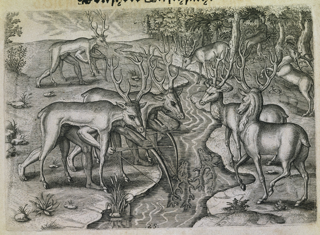 Detail of Engraving by Theodor de Bry After Stag Hunting by Jacques Le Moyne
