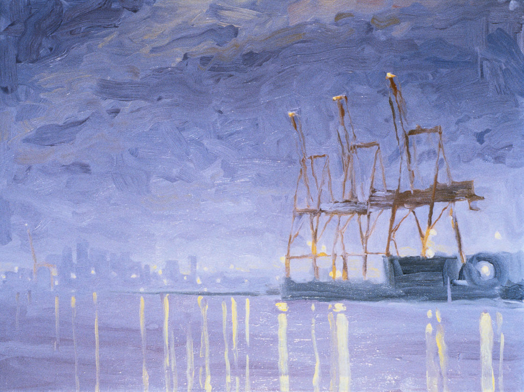 Detail of Pre-Dawn with Cranes by Mary Iverson